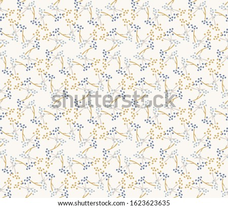 French shabby chic tiny seed vector stripe background. Dainty flower in blue and yellow off white seamless pattern. Hand drawn floral interior home decor swatch. Classic farmhouse style allover print Stockfoto ©