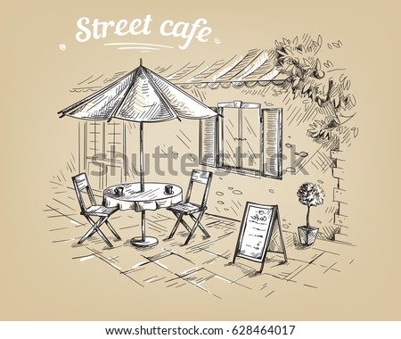 french street cafe  hand drawn...
