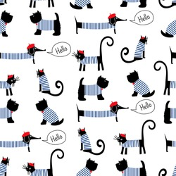 French style animals seamless pattern. Cute cartoon parisian dachshund, cat and scottish terrier vector illustration. French style dressed dogs and cats with red beret and striped frock.