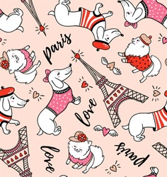 French style dog seamless pattern on pink background. Cute cartoon parisian dachshund and Eiffel tower vector illustration. French style dressed dog with red beret.