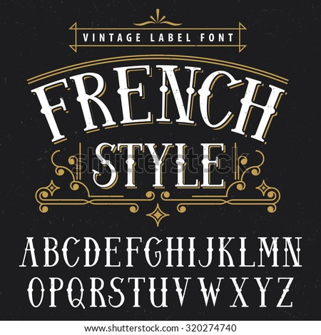 french style vintage label font