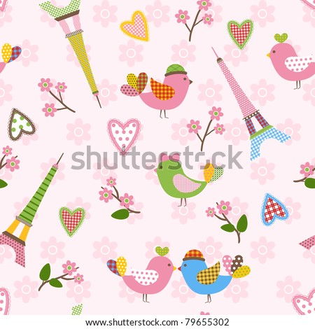 French styled pattern with birds, hearts and Eiffel. Pink. Vector seamless.