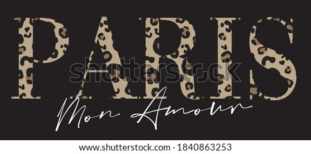 French typography slogan print with leopard pattern - Paris Amour graphic font vector for girl tee / t shirt Foto stock ©