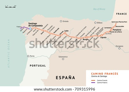 Shutterstock French Way map. Camino De Santiago or The Way of St.James. France. Ancient pilgrimage path to the Santiago de Compostela on the north of Spain.