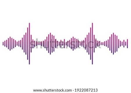 Frequency audio waveform, music wave HUD interface elements, voice graph signal. Vector illustration. Eps 10.