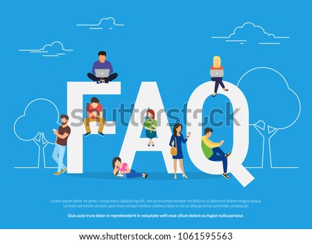 Frequently asked questions concept illustration of young people standing near letters and using smart phone, laptop and digital tablet. Flat women and men with letters symbols faq on blue background Сток-фото ©