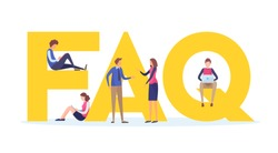 Frequently asked questions concept.  People's with big letter word. Flat cartoon miniature  illustration vector graphic on white background.  landing page for website.