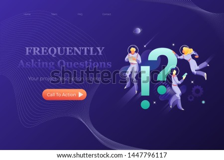Frequently asking questions banner template. Vector metaphor of website page with exclamation and question marks surrounded by developers in spacesuits.