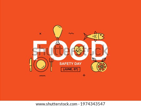 Fresch food  text illustration design. Easy to edit with vector file. Can use for your creative content. Especially about food safety day campaign in this june. ストックフォト ©