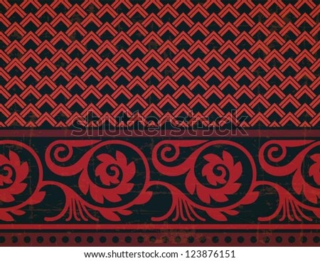 Fresco ornament with geometric pattern part and floral border seamless design vector composition old style design