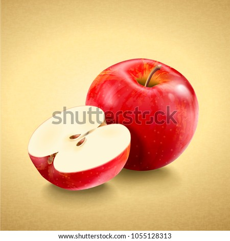 Fresh and delicious apple, red ripe apples in 3d illustration isolated on golden color background