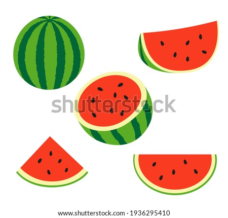 Fresh and juicy whole watermelons and slices. Set illustrations isolated on a white background.