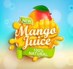 Fresh and natural Mango juice with mango slices in juice splash. Perfect for retail marketing promotion and advertising. Vector illustration.
