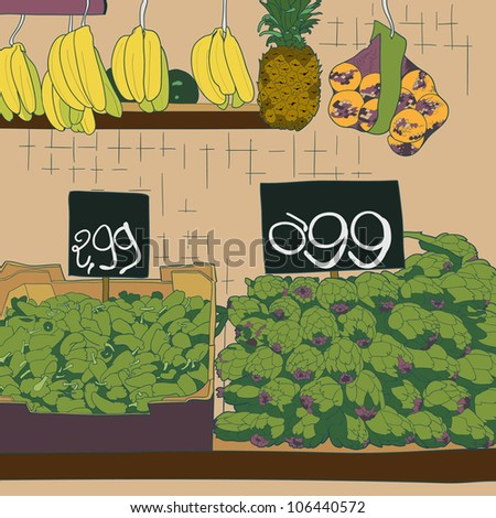Fresh and organic fruit and vegetables at farmers market.  Vector illustration.