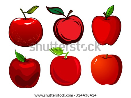 green and red apples clipart. fresh and ripe red apple fruits with green leaves smooth shiny skin isolated on white apples clipart