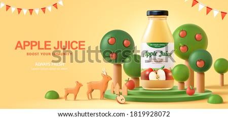 Fresh apple juice ad in 3d illustration, bottle mock-up on organic farm scene podium background