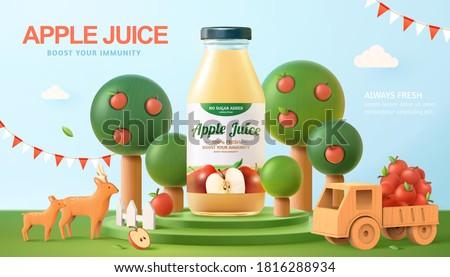 Fresh apple juice ad in 3d illustration, with bottle mock-up set on organic farm scene podium