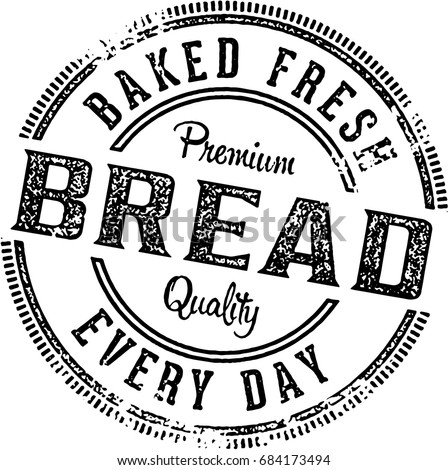 Fresh Baked Bread  Vintage Restaurant Menu Stamp