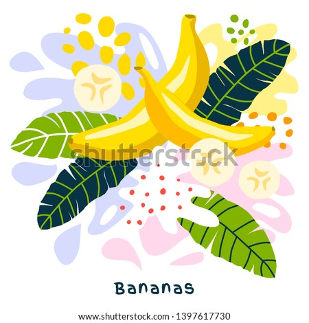 Fresh banana tropical fruits juice splash organic food ripe juicy bananas splatter on abstract background vector hand drawn illustrations