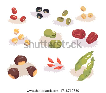 Fresh beans isolated on white background. Red beans, green beans, soybeans, corns, fava beans, jujubes, wolfberry and chestnuts.