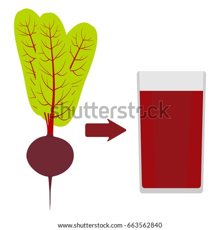 Fresh beets with tops, and a glass of beet juice around. The arrow in the direction from the beet to juice. Vector illustration in flat style, isolated.