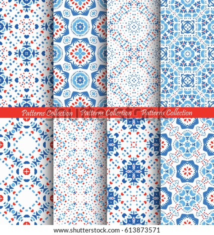 Fresh Blue Flower Patterns. Seamless Boho Backgrounds. Square and round design elements. Vector illustration for wallpaper print, linen fabric. Ethnic textile graphic. Floral capsule collection.