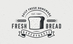 Fresh Bread, Bakery logo. Bakery trendy logo with tost bread and ribbon banner. Bakery product logo. Craft grunge texture. Vector emblem template.
