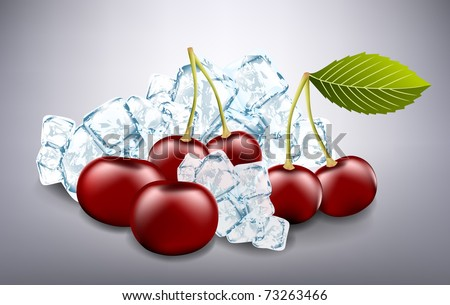 fresh cherries and ice cubes