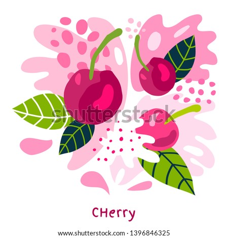 Fresh cherries berry berries fruits juice splash organic food juicy splatter cherry on abstract background vector hand drawn illustrations