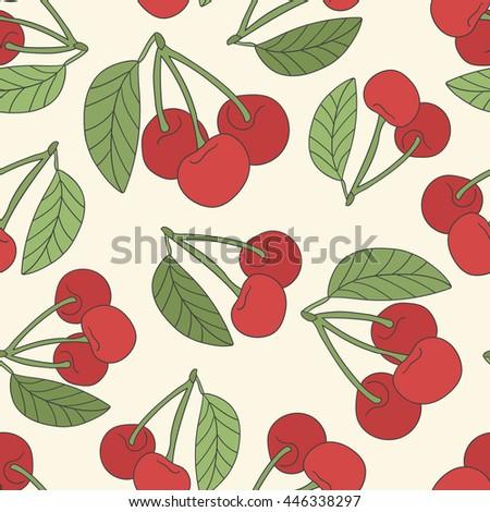 fresh cherry hand drawn