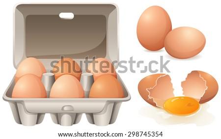 Fresh chicken eggs in box