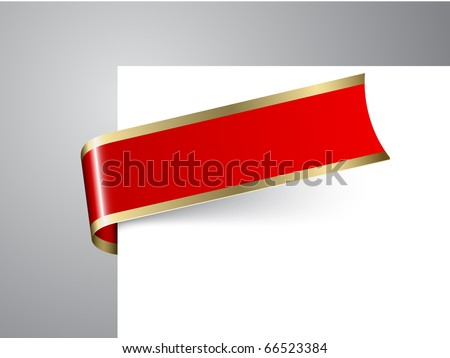 Fresh Christmas corner ribbon- red paper with golden borders