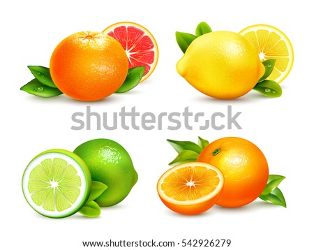 fresh citrus fruits whole and