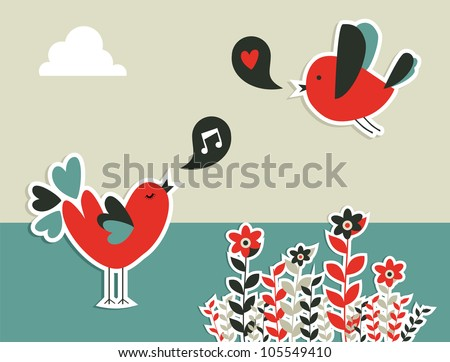 Fresh communication concept: birds with social speech bubble. Vector file layered for easy manipulation and custom coloring.