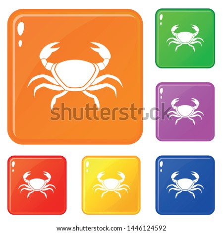 fresh crab icons set collection