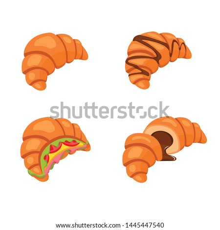 Fresh croissant with hot chocolate, sliced croissant with chocolate, croissant sandwiches, croissant icon. Vector illustration.
