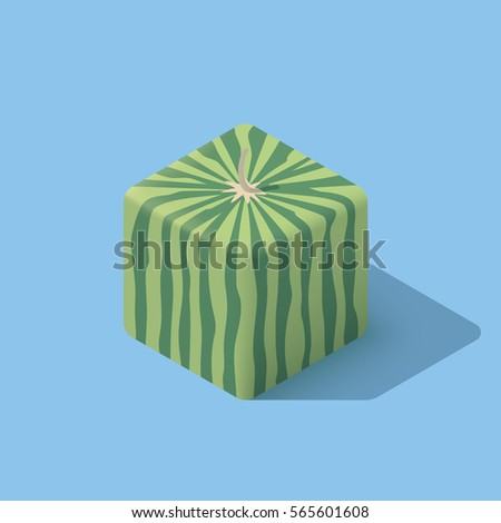 fresh cube watermelon isolated