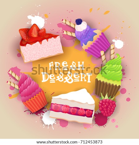 Stock Photo Fresh Desserts Set Banner Colorful Cake Sweet Beautiful Delicious Food Logo Flat Vector Illustration