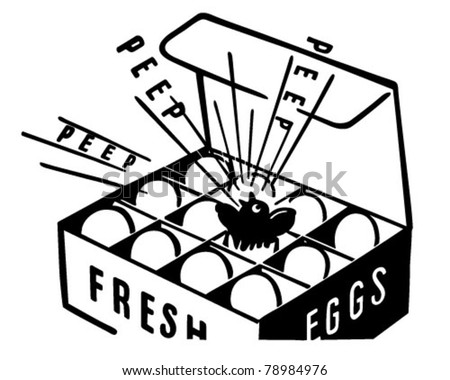 Fresh Eggs - Retro Clipart Illustration