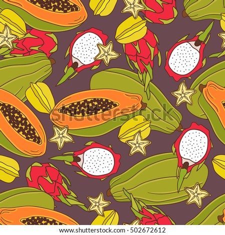 fresh exotic fruits icon hand
