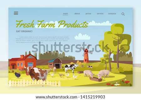 Fresh Farm Products landing page layout. Summer farm landscape with mill, cattle, poultry. Cows, pigs, chicken, turkeys graze. Rural scenery with barn, trees, flowers. Farming, agricultural work