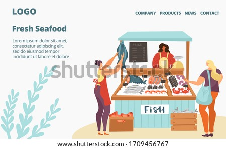 Fresh fish and seafood sale market or store webpage template flat vector illustration. Sea food in ice, customers and seller of raw salmon and tuna, products showcase full of fish. Street counter.