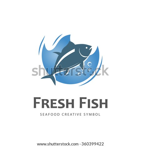 fresh fish vector design logo