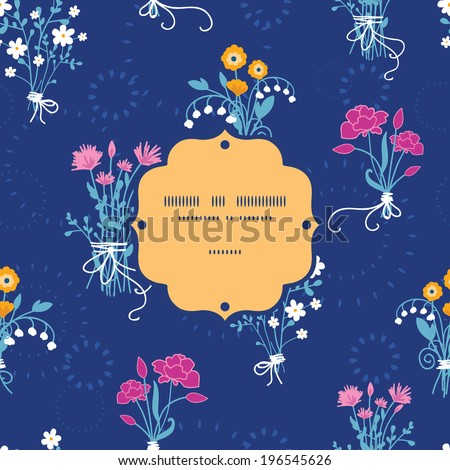 Fresh flower bouquets frame seamless pattern background