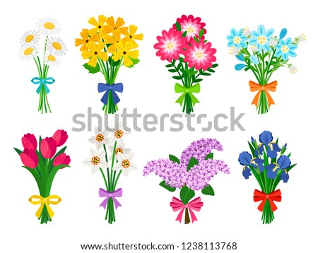 Fresh flowers bouquets. Summer bouquet set isolated, woman flowers gift, tulips and daisies, lilacs and daffodils spring bunches vector illustration ストックフォト ©