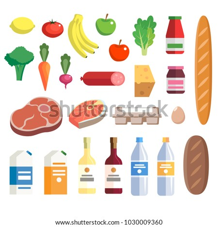 Fresh food from grocery set, vector illustration in flat style. Different food and beverage products - market basket, grocery shopping. Milk, juice, water, fruits, vegetables, meat, fish, wine, bread