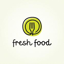 Fresh Food logo design template. Vector color hand like illustration background. Graphic fork icon symbol for cafe, restaurant, cooking business. Modern linear catering label, emblem, badge in circle