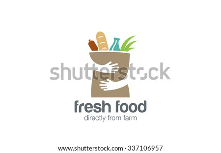 fresh food shopping logo design