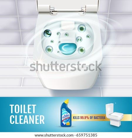 Fresh fragrance toilet cleaner gel ads. Vector realistic Illustration with top view of toilet bowl and disinfectant container. Poster.