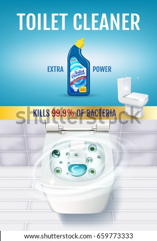 Fresh fragrance toilet cleaner gel ads. Vector realistic Illustration with top view of toilet bowl and disinfectant container. Vertical poster.